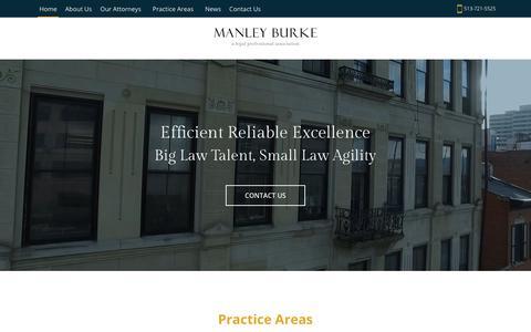 Screenshot of Home Page manleyburke.com - Home - Manley Burke - captured Dec. 17, 2018