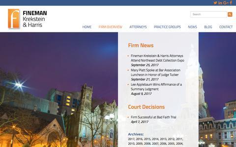 Screenshot of Press Page finemanlawfirm.com - News and Court Decisions | Fineman Krekstein & Harris P.C. - captured Oct. 13, 2017