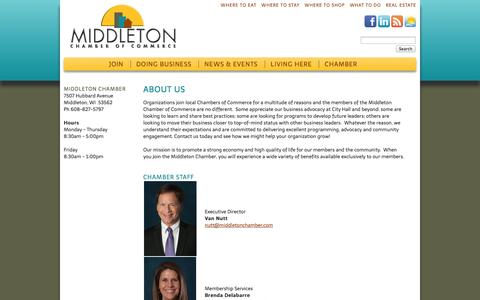 Screenshot of About Page middletonchamber.com - About Us - Middleton Chamber of Commerce - captured Oct. 27, 2014