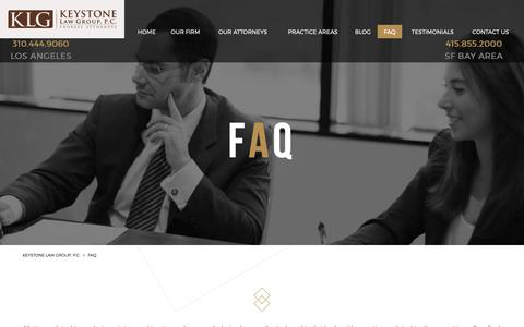 Screenshot of FAQ Page keystone-law.com - Frequently Asked Questions | Keystone Law Group, P.C. - captured Oct. 15, 2018
