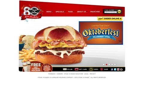 Screenshot of Home Page steaknshake.com - Steak 'n Shake | Steakburger & Hand Dipped Milkshakes - captured Sept. 22, 2014