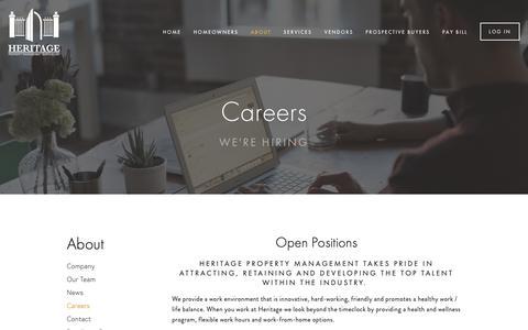 Screenshot of Jobs Page heritageproperty.com - Careers — Heritage - captured Nov. 28, 2018