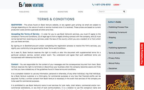 Screenshot of Blog Terms Page bookventure.com - Terms & Conditions   BookVenture Publishing - captured Sept. 19, 2018