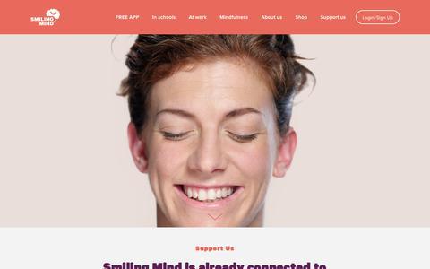 Screenshot of Support Page smilingmind.com.au - Support Us — Smiling Mind - captured Oct. 19, 2018