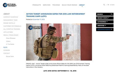 Screenshot of Blog actiontarget.com - Blog | Action Target - captured July 24, 2016