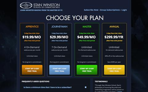 Screenshot of Trial Page stanwinstonschool.com - Subscription Plans | Stan Winston School of Character Arts - captured Oct. 30, 2014
