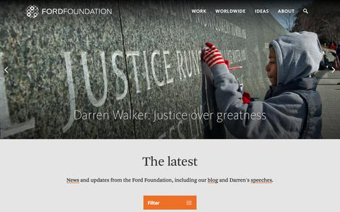 Screenshot of Press Page fordfoundation.org - Home / Ford Foundation - captured April 2, 2018