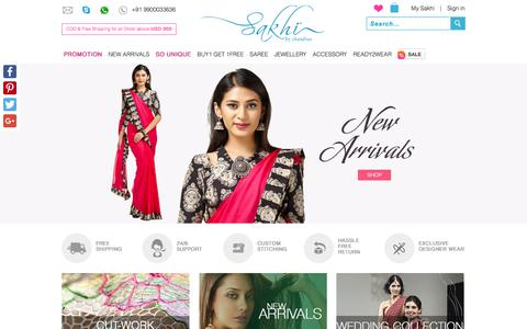 Screenshot of Home Page sakhifashions.com - Indian Designer Sarees Online Shopping - Sakhi Fashions - captured June 23, 2017