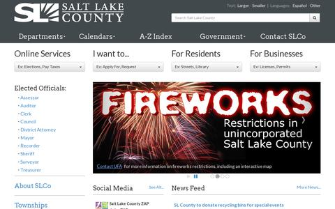 Screenshot of Home Page slco.org - Salt Lake County - captured July 17, 2014