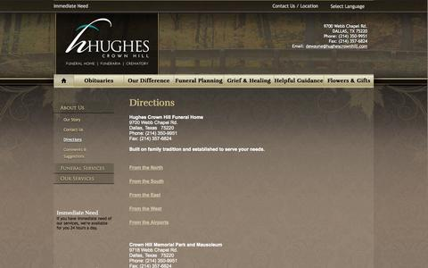 Screenshot of Maps & Directions Page hughescrownhill.com - Directions - captured Oct. 3, 2014