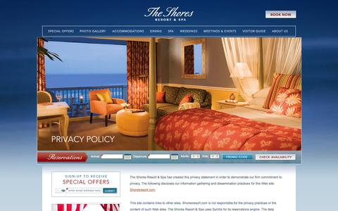 Screenshot of Privacy Page shoresresort.com - Daytona Beach Vacations | The Shores Resort & Spa - Privacy Policy | Florida Hotels - captured Sept. 23, 2014