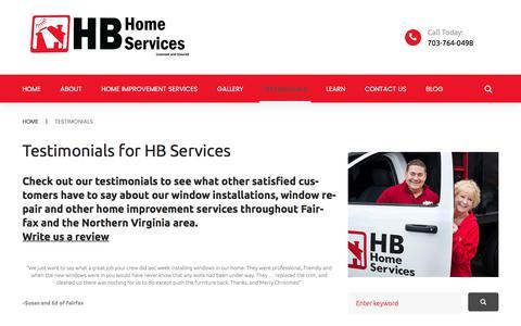 Screenshot of Testimonials Page hb-service.biz - Testimonials | HB Home Services - captured July 7, 2017