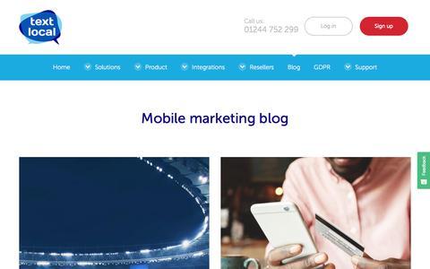 Screenshot of Blog textlocal.com - SMS and Text Marketing Blog from Textlocal - captured June 2, 2018
