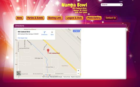 Screenshot of Contact Page Maps & Directions Page nampabowl.com - Nampa Bowl > Contact Us > Directions - captured June 13, 2016