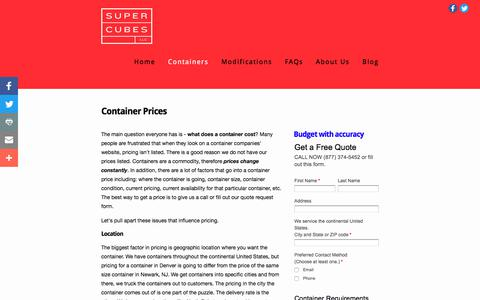 Screenshot of Pricing Page supercubes.com - Pricing — Shipping Containers at a Fair Price | Super Cubes LLC, 1-877-374-5452 - captured Oct. 27, 2017