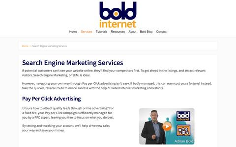 Screenshot of Services Page boldinternet.co.uk - Search Engine Marketing Services - captured Sept. 25, 2016