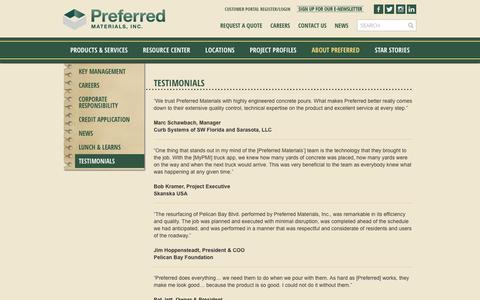 Screenshot of Testimonials Page preferredmaterials.com - Testimonials - Preferred Materials - captured Nov. 9, 2016
