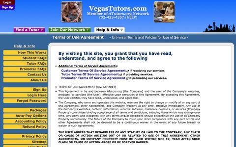 Screenshot of Terms Page vegastutors.com - VegasTutors.com: Terms of Use Agreement - Universal Terms and Policies for Use of Service - captured Dec. 19, 2016