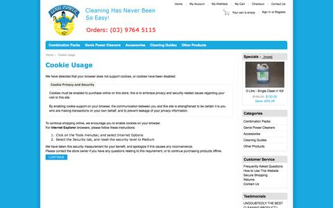 Screenshot of Login Page gpamazingproducts.com.au - Cookie Usage : Concentrated Cleaning Formulas - captured Sept. 27, 2014
