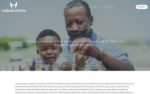 Screenshot of Testimonials Page medicaidsolutionsllc.com - Testimonials — Medicaid Solutions - captured Jan. 9, 2016