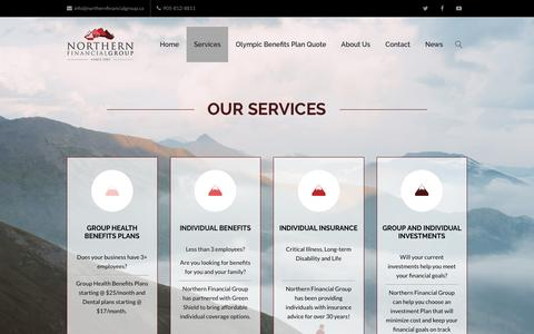 Screenshot of Services Page northernfinancialgroup.ca - Services: Benefits, Insurance, Investments - Northern Financial Group Inc. - captured Sept. 21, 2018