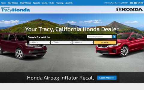 Screenshot of Home Page tracyhonda.com - Honda Dealer in Tracy, CA serving Manteca   Tracy Honda - captured Jan. 26, 2015