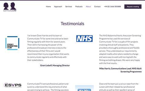Screenshot of Testimonials Page communicatetv.co.uk - Testimonials – Communicate TV - captured July 20, 2018
