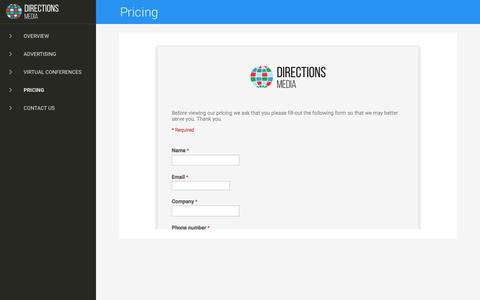 Screenshot of Pricing Page directionsmedia.net - Directions Media - captured Aug. 2, 2016