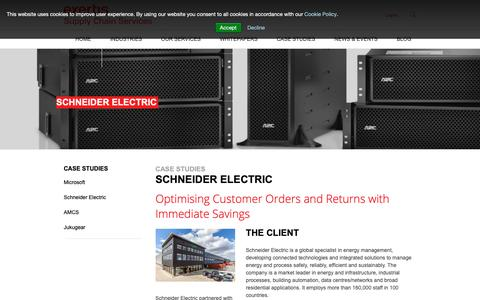 Screenshot of Case Studies Page exertissupplychain.com - Schneider Electric - Exertis Supply Chain Services - captured Sept. 30, 2018
