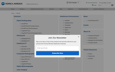 Screenshot of Site Map Page konicaminolta.com - Sitemap   Konica Minolta Healthcare Americas, Inc. - captured Oct. 17, 2018