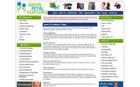 Screenshot of Terms Page greenpetalventures.com - Terms And Conditions - Green Petal Ventures! - captured Sept. 30, 2014