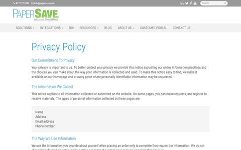 Privacy Policy - Miami, Coral Gables, Hialeah | PaperSave