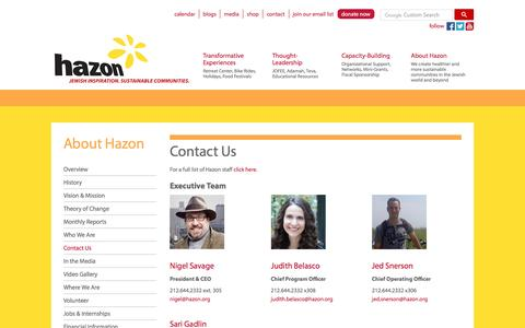 Screenshot of Contact Page hazon.org - Contact Us - Hazon - captured May 15, 2017