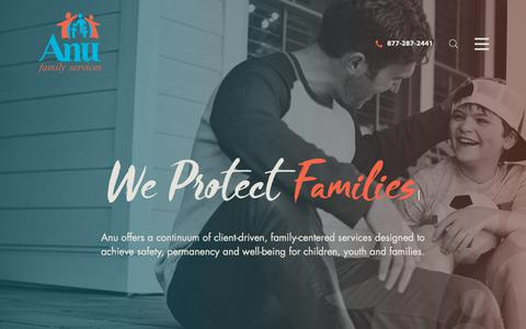 Screenshot of Home Page anufs.org - Anu Family Services   Treatment Services For Children & Families - captured Nov. 12, 2018