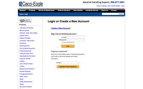 Screenshot of Login Page cisco-eagle.com - Cisco-Eagle Catalog - captured July 21, 2015