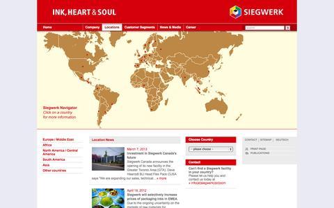 Screenshot of Locations Page siegwerk.com - Siegwerk: Locations - captured Sept. 30, 2014