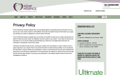 Screenshot of Privacy Page kemphospice.org - Privacy Policy | Dr Bob Kemp Centre for Hospice Palliative Care - captured Oct. 13, 2017