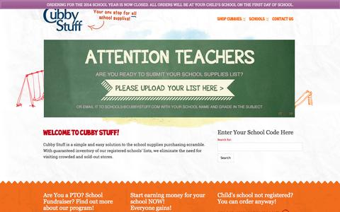 Screenshot of Home Page cubbystuff.com - Cubby Stuff - Your one stop for ALL school supplies! - captured Sept. 30, 2014