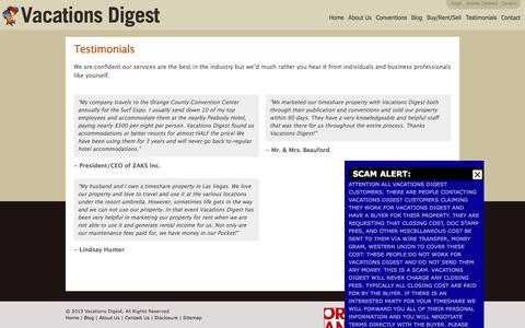 Screenshot of Testimonials Page vacationsdigest.com - Testimonials | Vacations Digest - captured Nov. 11, 2017