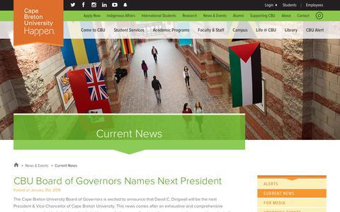 Screenshot of Press Page cbu.ca - Current News | Cape Breton University - captured Feb. 9, 2018