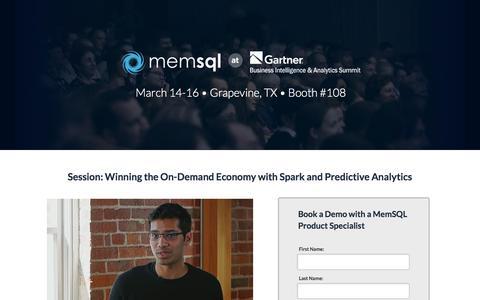 Screenshot of Landing Page memsql.com - MemSQL @ Gartner BI Summit - captured April 16, 2016