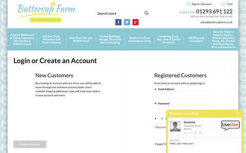 Screenshot of Login Page buttercupfarm.co.uk - Customer Login - captured Oct. 7, 2018