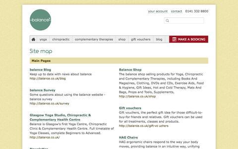 Screenshot of Site Map Page balance.co.uk - balance site map - captured Sept. 23, 2014