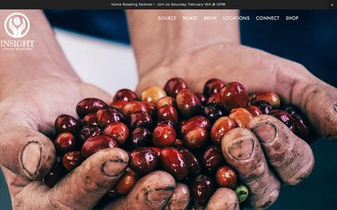 Screenshot of Home Page insightcoffee.com - Insight Coffee Roasters - captured Feb. 11, 2016