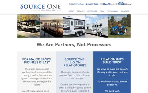 Screenshot of Services Page source1financial.com - SourceOne | SERVICES - captured Nov. 9, 2018