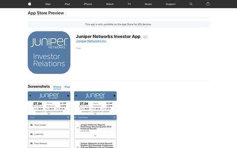 Juniper Networks Investor App on the AppStore