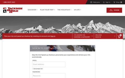 Screenshot of Login Page jacksonhole.com - Jackson Hole Mountain Resort. Login - captured Nov. 28, 2018