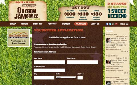 Screenshot of Signup Page oregonjamboree.com - Volunteer Application | Oregon Jamboree - captured Feb. 13, 2016