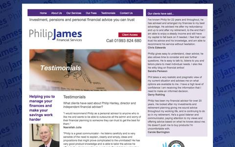 Screenshot of Testimonials Page pjamesfs.com - Philip James Financial Services - captured Jan. 28, 2016