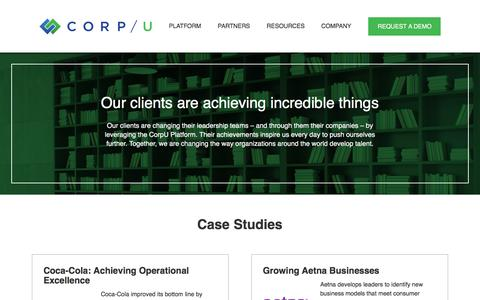 Screenshot of Case Studies Page corpu.com - Case Studies | CORP/U - captured May 30, 2018